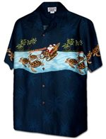 Pacific Legend Border Christmas Navy Cotton Men's Hawaiian Shirt