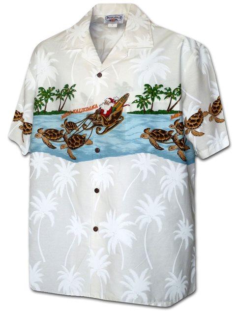 Christmas Hawaiian Shirts.Border Christmas White Cotton Men S Hawaiian Shirt
