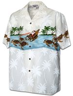 Pacific Legend Border Christmas White Cotton Men's Hawaiian Shirt