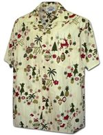 Pacific Legend Christmas Ornament Cream Cotton Men's Hawaiian Shirt