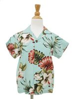 [Exclusive] Royal Hawaiian Creations Hibiscus&Monstera Light Blue Rayon Boys Hawaiian Shirt