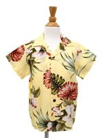 [Exclusive] Royal Hawaiian Creations Hibiscus&Monstera Light Yellow Rayon Boys Hawaiian Shirt