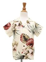 [Exclusive] Royal Hawaiian Creations Hibiscus&Monstera Cream Rayon Boys Hawaiian Shirt