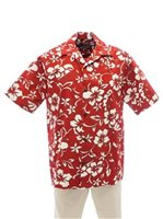 Hilo Hattie Classic Hibiscus Pareo Red Cotton Men's Hawaiian Shirt