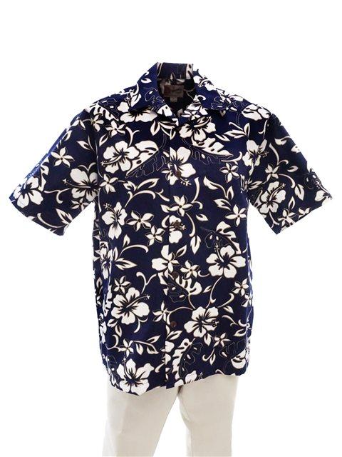 7f5ee3c70be5b Hilo Hattie Classic Hibiscus Pareo Navy Cotton Men s Hawaiian Shirt ...
