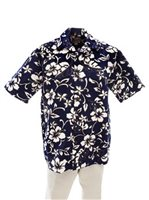 Hilo Hattie Classic Hibiscus Pareo Navy Cotton Men's Hawaiian Shirt