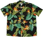 Waimea Casuals Airbrush Bird of paradise Black Cotton Men's Hawaiian Shirt