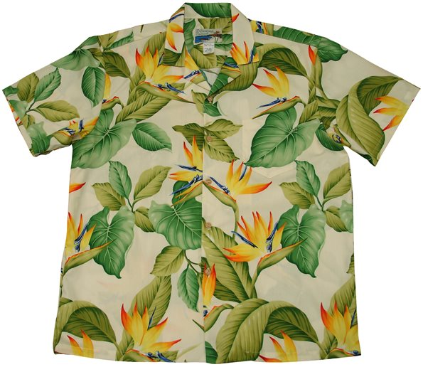 d592d7e0 Waimea Casuals Airbrush Bird of paradise Cream Cotton Men's Hawaiian Shirt
