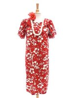Hilo Hattie Classic Hibiscus Pareo Red Cotton Hawaiian Tulip Sleeve Short Muumuu Dress