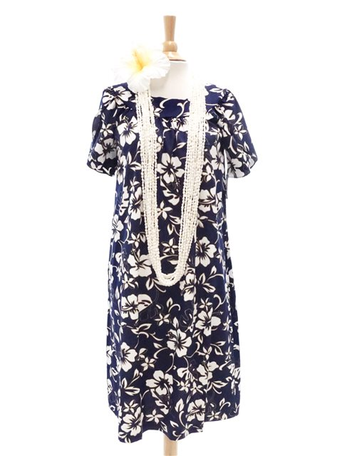 340baf34283 Classic Hibiscus Pareo Navy Cotton Hawaiian Tulip Sleeve Short Muumuu Dress