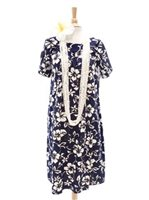 Hilo Hattie Classic Hibiscus Pareo Navy Cotton Hawaiian Tulip Sleeve Short Muumuu Dress