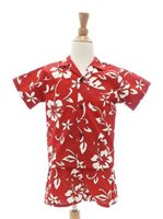 Hilo Hattie Classic Hibiscus Pareo Red Cotton Boy's Hawaiian Cabana Set