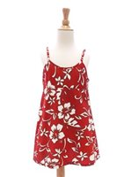 Hilo Hattie Classic Hibiscus Pareo Red Cotton Girls Hawaiian Spaghetti Strap Dress