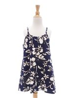 Hilo Hattie Classic Hibiscus Pareo Navy Cotton Girls Hawaiian Spaghetti Strap Dress