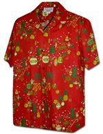 Pacific Legend Christmas Ornament Red Cotton Men's Hawaiian Shirt