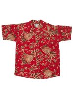 Avanti Pineapple Hut Red Silk Men's Hawaiian Shirt