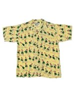Avanti Hula Hands Yellow Silk Men's Hawaiian Shirt