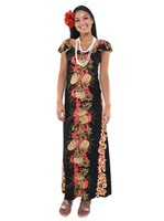 Hilo Hattie Pineapple Panel Black Rayon Hawaiian Flutter Sleeve Empire Dress