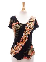 Hilo Hattie Pineapple Panel Black Rayon Hawaiian Flutter Sleeve Blouse