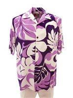 Hilo Hattie Maunakea Purple Rayon Men's Hawaiian Shirt