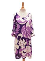 Hilo Hattie Maunakea Purple Rayon Hawaiian Open Shoulder Short Dress