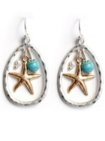 Splendid Iris Starfish/Turquoise/Pearl Silver Teardrop Earrings