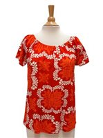 Hilo Hattie Hawaiian Quilt Red Rayon Hawaiian Peasant Blouse