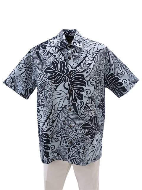 41bb7c92 Hilo Hattie Tribal Monstera Navy Cotton Men's Hawaiian Shirt ...