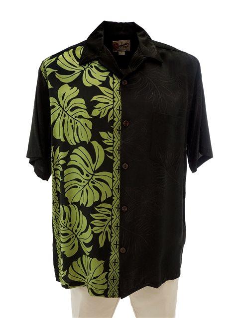 599807c9 Hilo Hattie Prince Kuhio Black & Green Rayon Men's Hawaiian Shirt ...