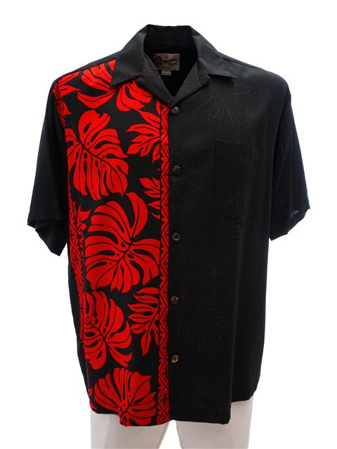 b277629af0 Prince Kuhio Black & Red Rayon Men's Hawaiian Shirt