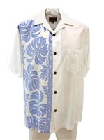 Hilo Hattie Prince Kuhio White & Blue Rayon Men's Hawaiian Shirt