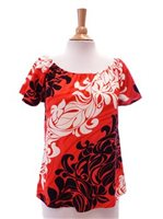 Hilo Hattie Kai Garden Red Rayon Hawaiian Peasant Blouse