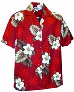 [Plus Size] Pacific Legend Hibiscus Monstera Red Cotton Women's Hawaiian Shirt