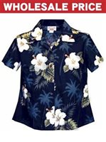 [Wholesale] Pacific Legend Hibiscus Navy Cotton Women's Fitted Hawaiian Shirt