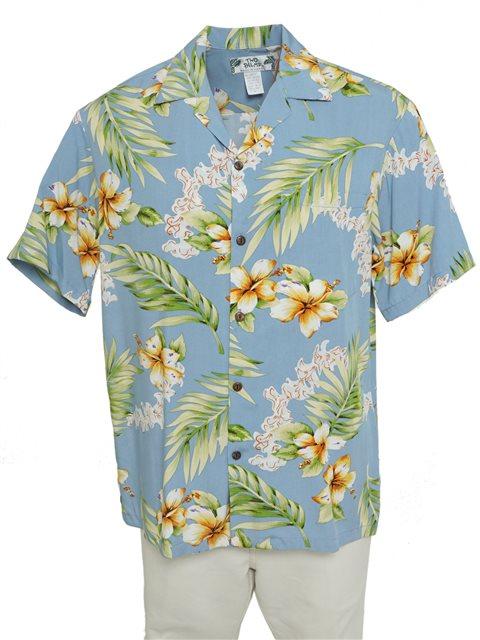 24dfd31a Wholesale] Two Palms Tuberose Blue Rayon Men's Hawaiian Shirt ...