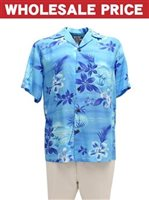 [Wholesale] Two Palms Moonlight Scenic Blue Rayon Men's Hawaiian Shirt