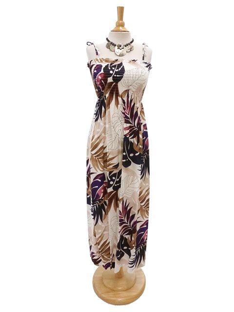 7147218125a Ginger   Monstera White Rayon Hawaiian Elastic Strap Tube Long Dress