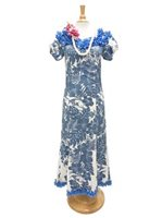 Royal Hawaiian Creations Hibiscus Panel Blue Poly Cotton Hawaiian Jenny Ruffle Long Muumuu Dress