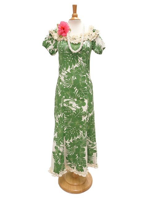 Hibiscus Panel Green Poly Cotton Hawaiian Jenny Ruffle Long Muumuu Dress
