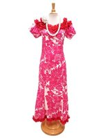 Royal Hawaiian Creations Hibiscus Panel Pink Poly Cotton Hawaiian Jenny Ruffle Long Muumuu Dress