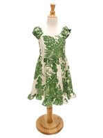 [Exclusive] Royal Hawaiian Creations Hibiscus Panel Green Poly Cotton Girls Hawaiian Sundress