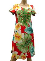 Paradise Found Plumeria Beauty Red Rayon Hawaiian A-Line with sleeves Short Dress