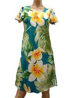 Paradise Found Plumeria Beauty Jade Rayon Hawaiian A-Line with sleeves Short Dress