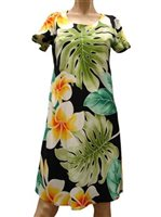 Paradise Found Plumeria Beauty Black Rayon Hawaiian A-Line with sleeves Short Dress