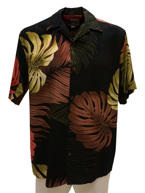 975e26f6 Hilo Hattie Monstera Palm Fronds Black Rayon Men's Hawaiian Shirt ...