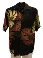 Hilo Hattie Monstera Palm Fronds Black Rayon Men's Hawaiian Shirt