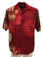 Hilo Hattie Monstera Palm Fronds Burgundy Rayon Men's Hawaiian Shirt