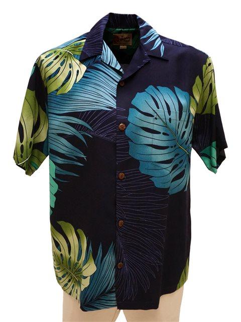 868c0068c Hilo Hattie Monstera Palm Fronds Navy Rayon Men's Hawaiian Shirt ...