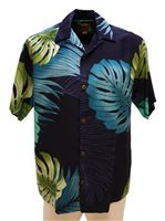 Hilo Hattie Monstera Palm Fronds Navy Rayon Men's Hawaiian Shirt