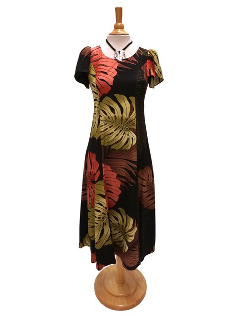 Monstera Palm Fronds Black Rayon Hawaiian Tulip Sleeve Dress